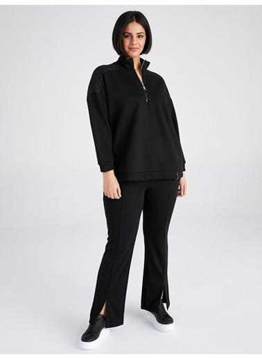 Faik Sönmez  Sim Detaylı Gömlek Yaka Sweatshirt 61811 Siyah